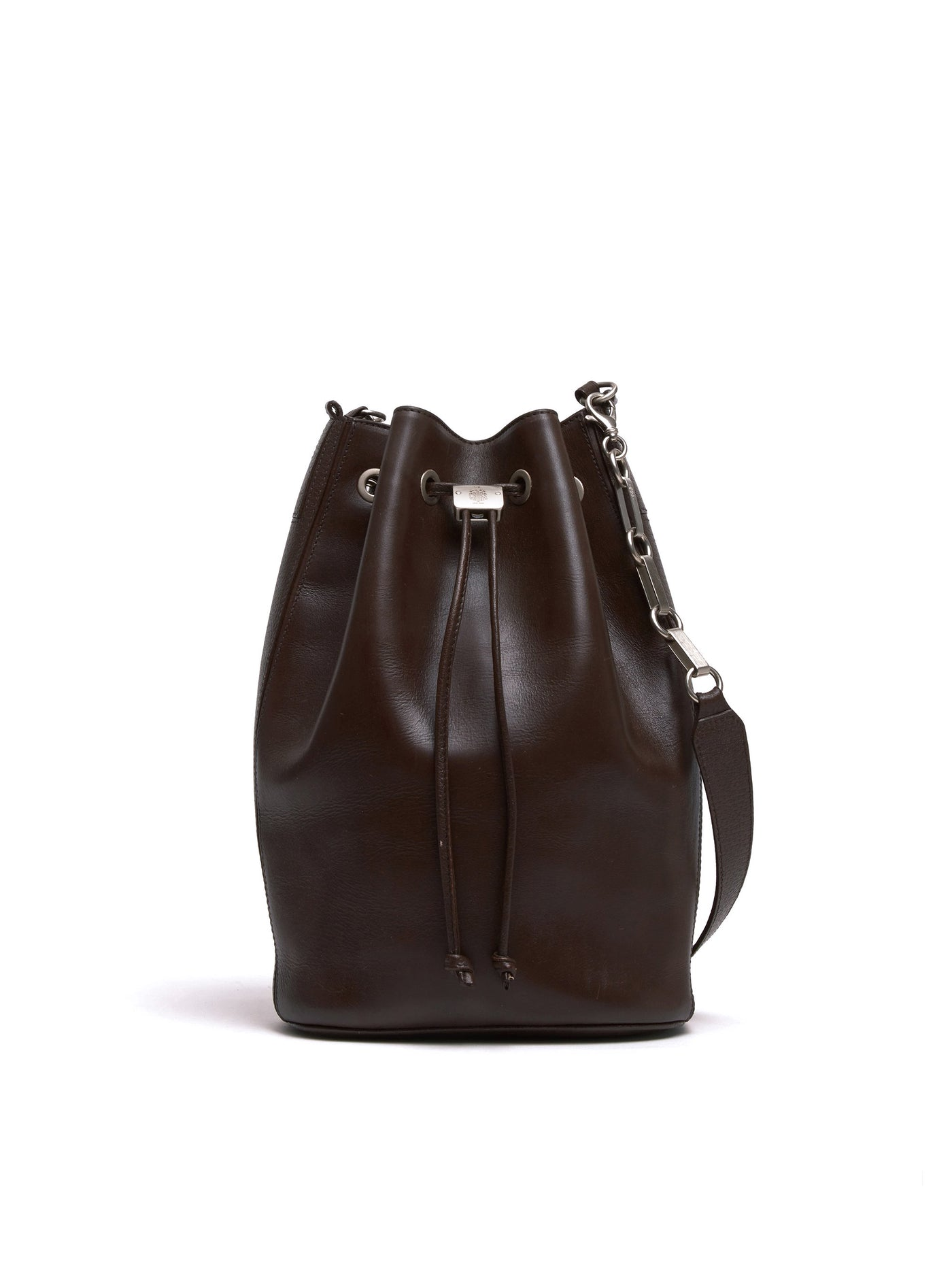 Mark Cross Vintage Leather Bucket Bag Chocolate Front
