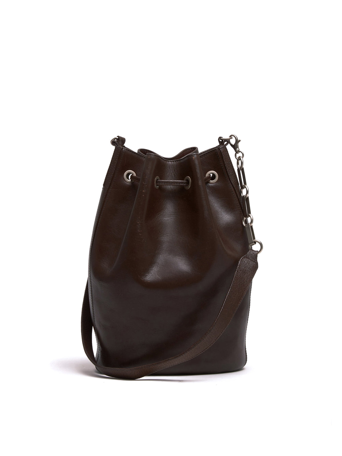 Mark Cross Vintage Leather Bucket Bag Chocolate Back