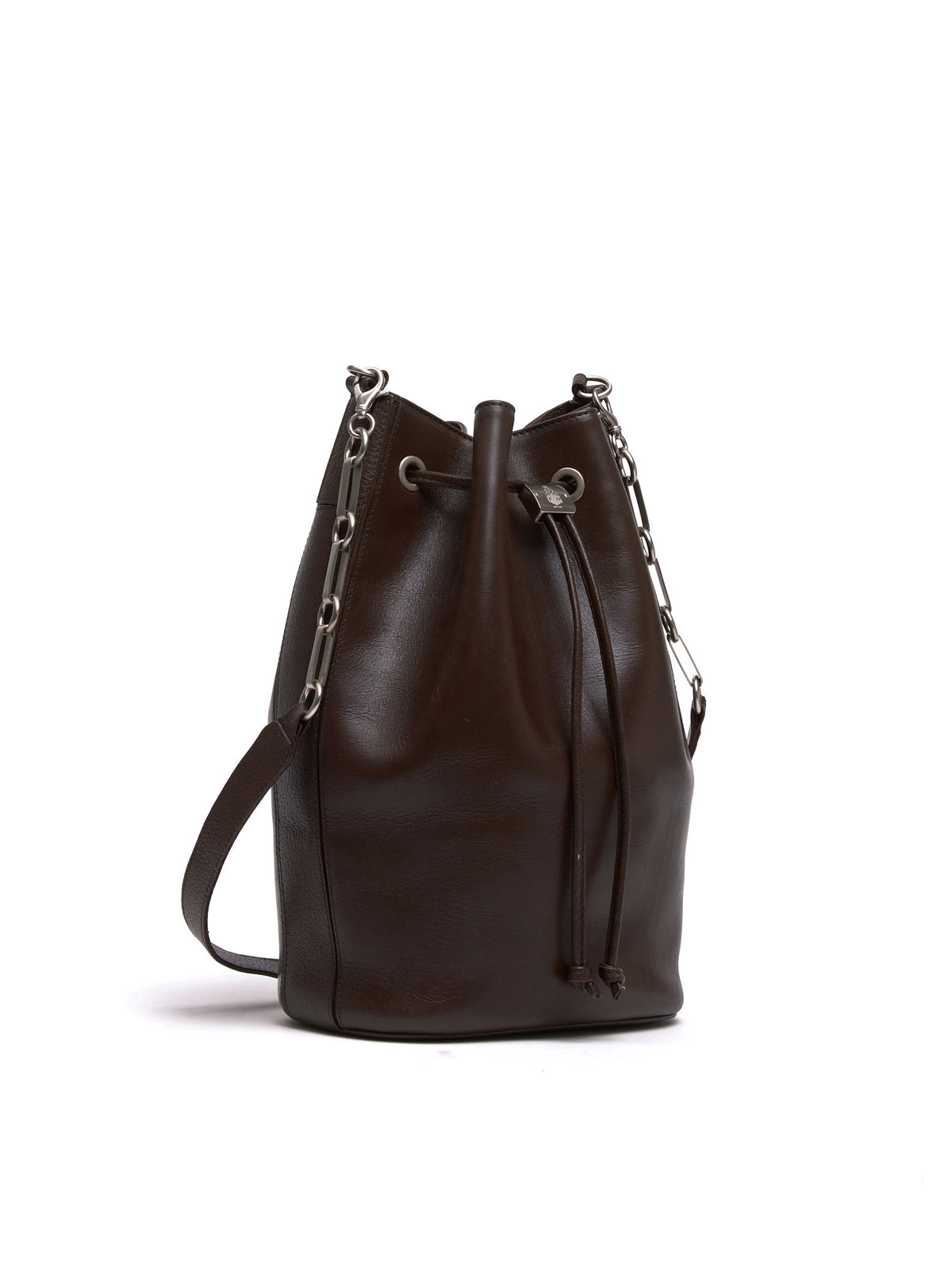 Mark Cross Vintage Leather Bucket Bag Chocolate Side
