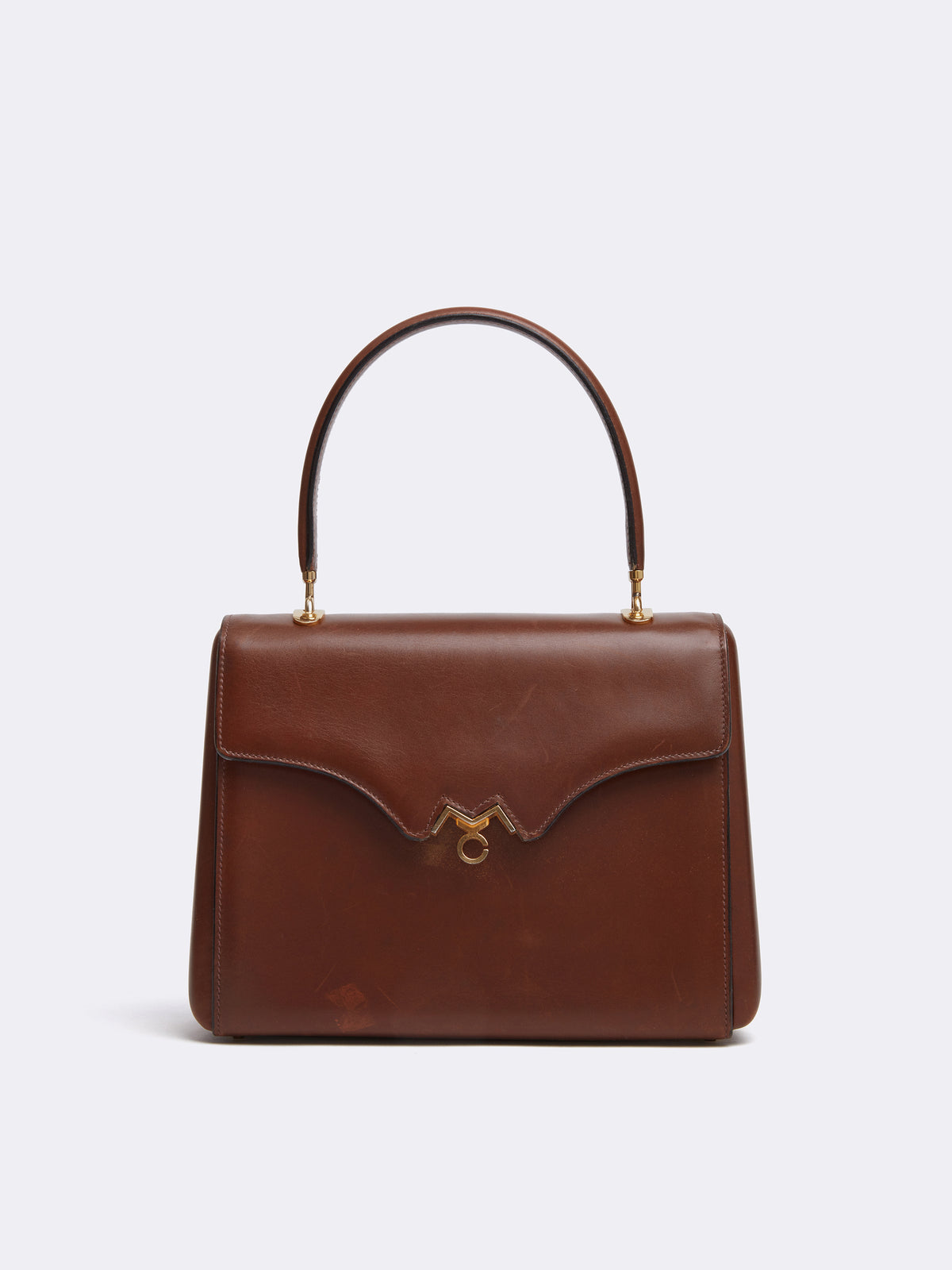 Mark Cross Archive Leather Top Handle Bag Cognac Front