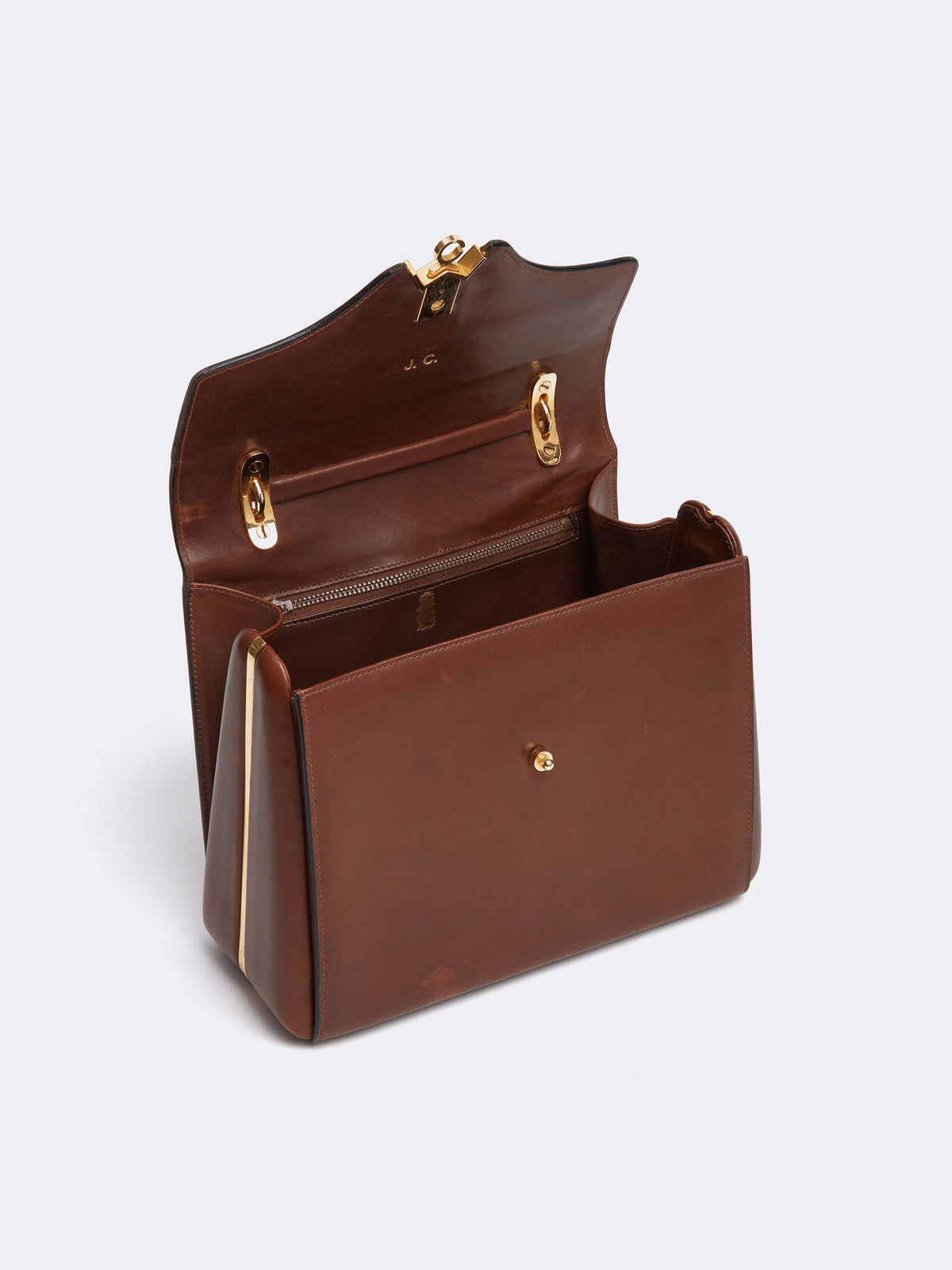 Mark Cross Archive Leather Top Handle Bag Cognac Interior