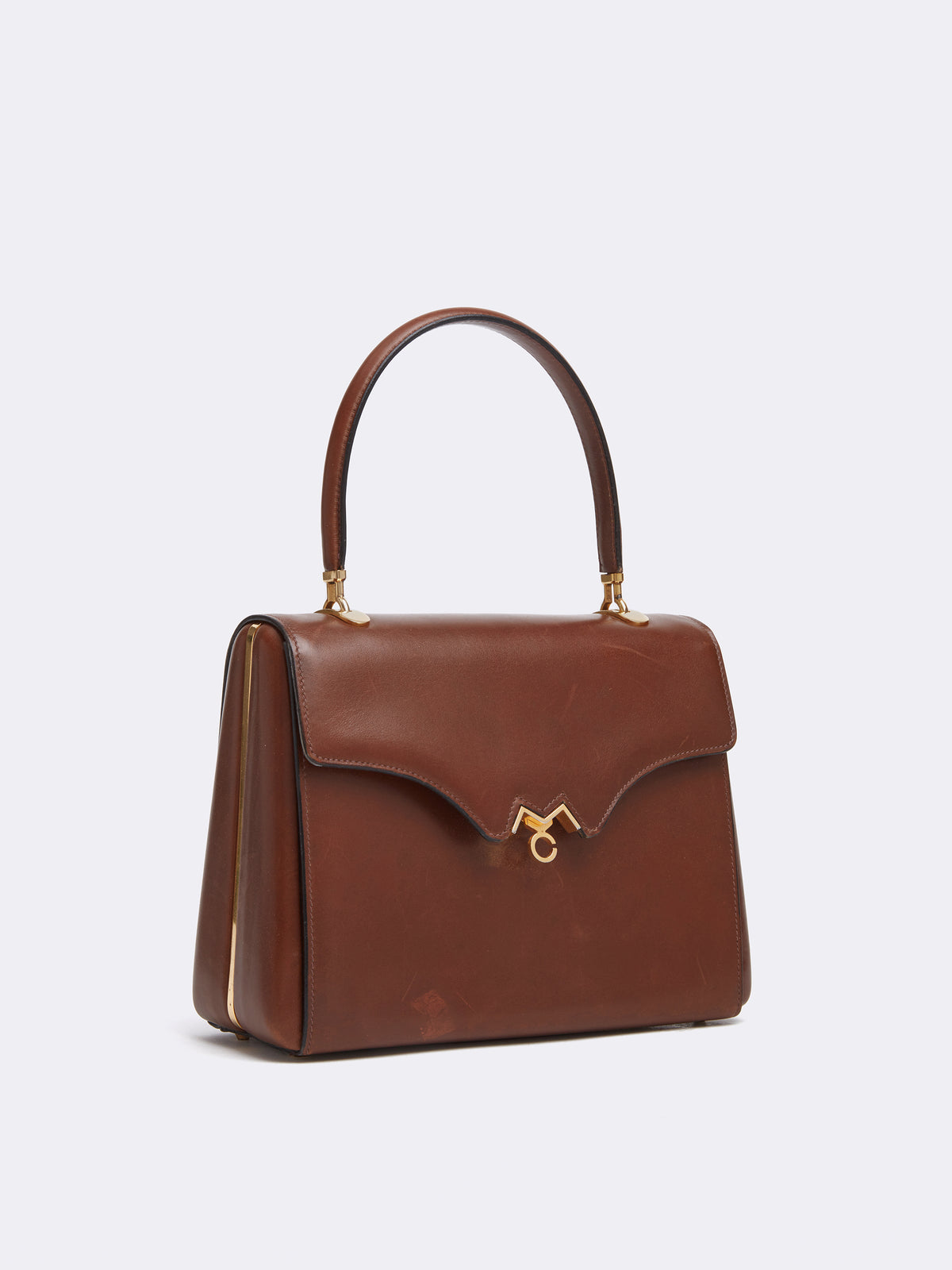 Mark Cross Archive Leather Top Handle Bag Cognac Side