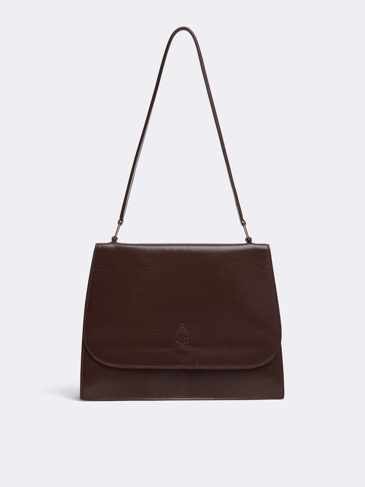 Mark cross Archive Leather Shoulder Bag Chocolate Front