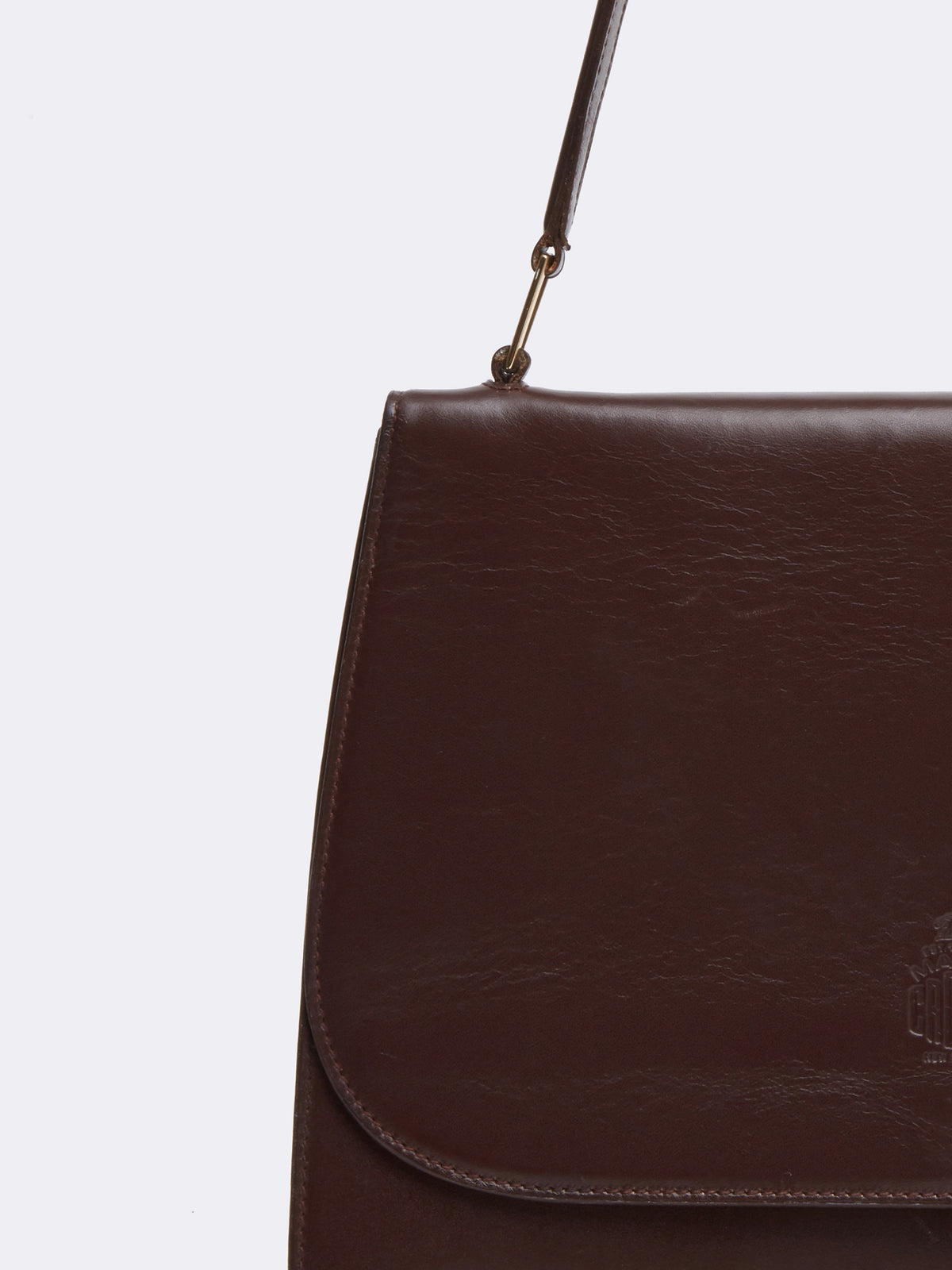 Mark cross Archive Leather Shoulder Bag Chocolate Detail