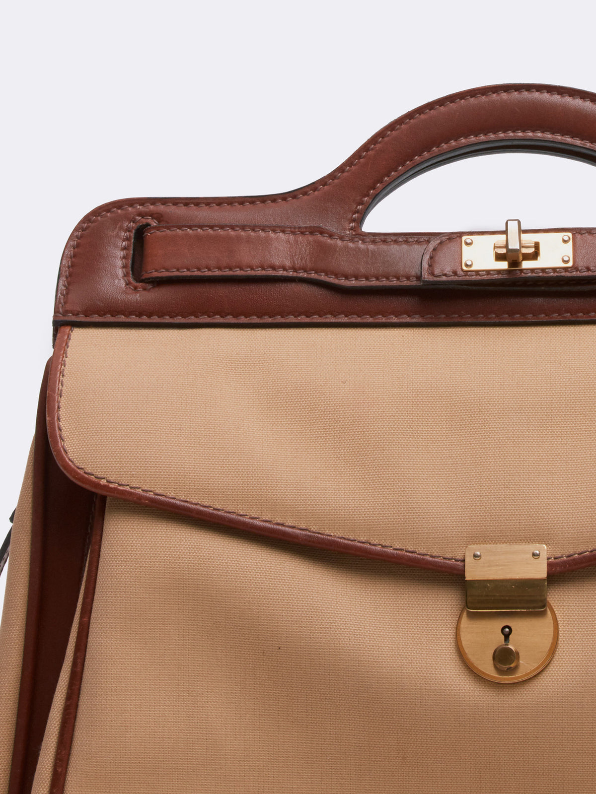 Mark Cross Archive Leather Handbag Cognac Detail