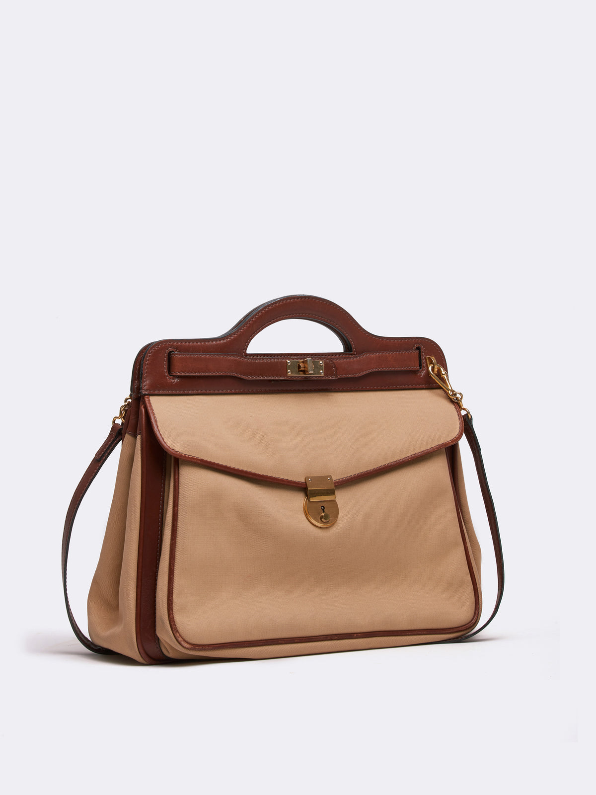 Mark Cross Archive Leather Handbag Cognac Side