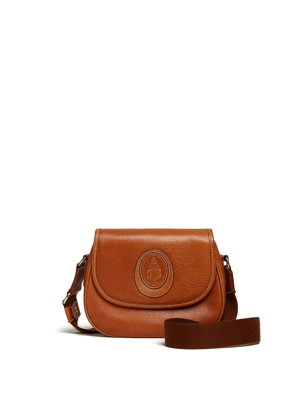 Vintage Leather Crossbody Bag With Logo