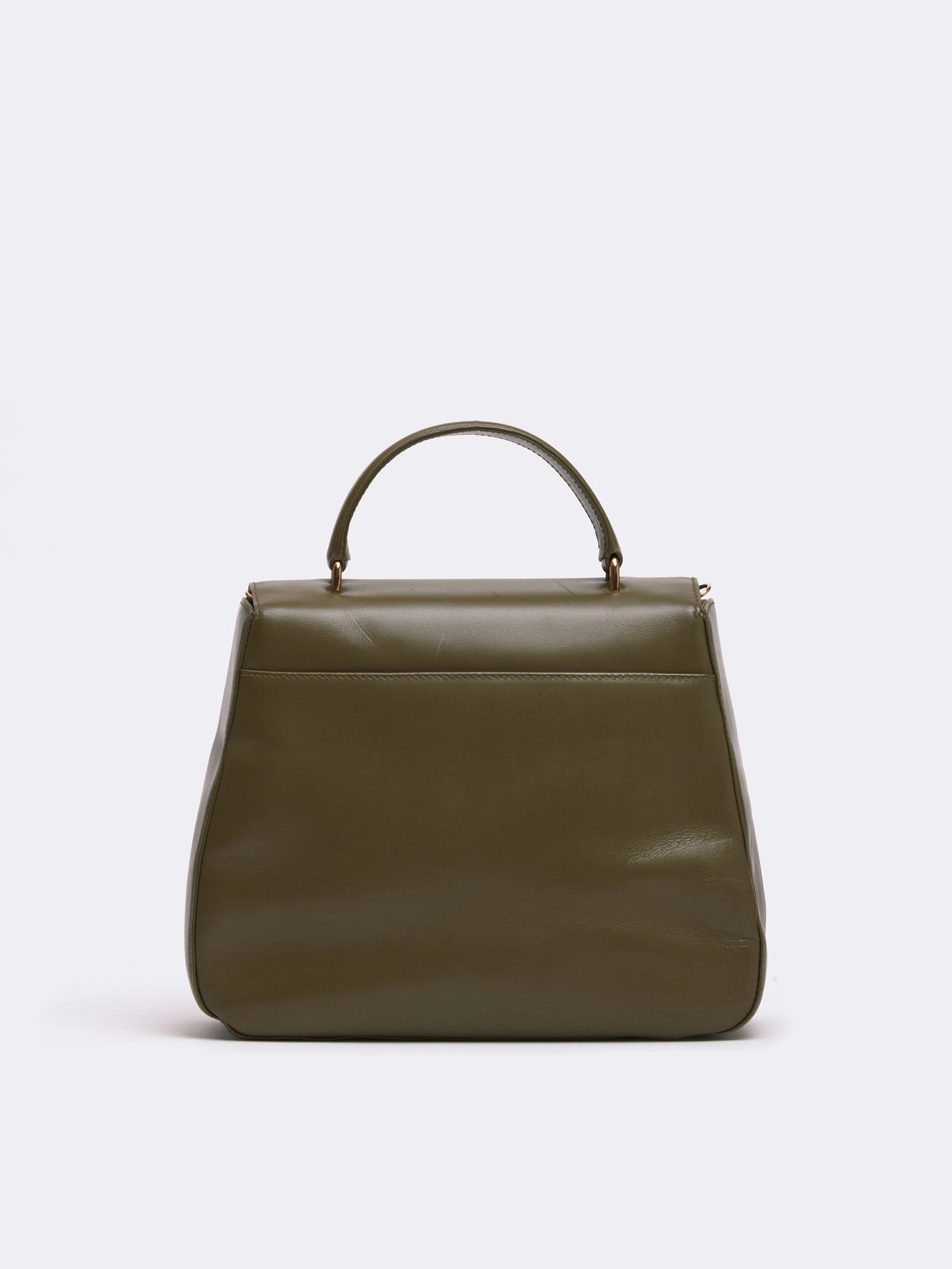 Mark Cross Archive Leather Top Handle Bag Leather Olive Back