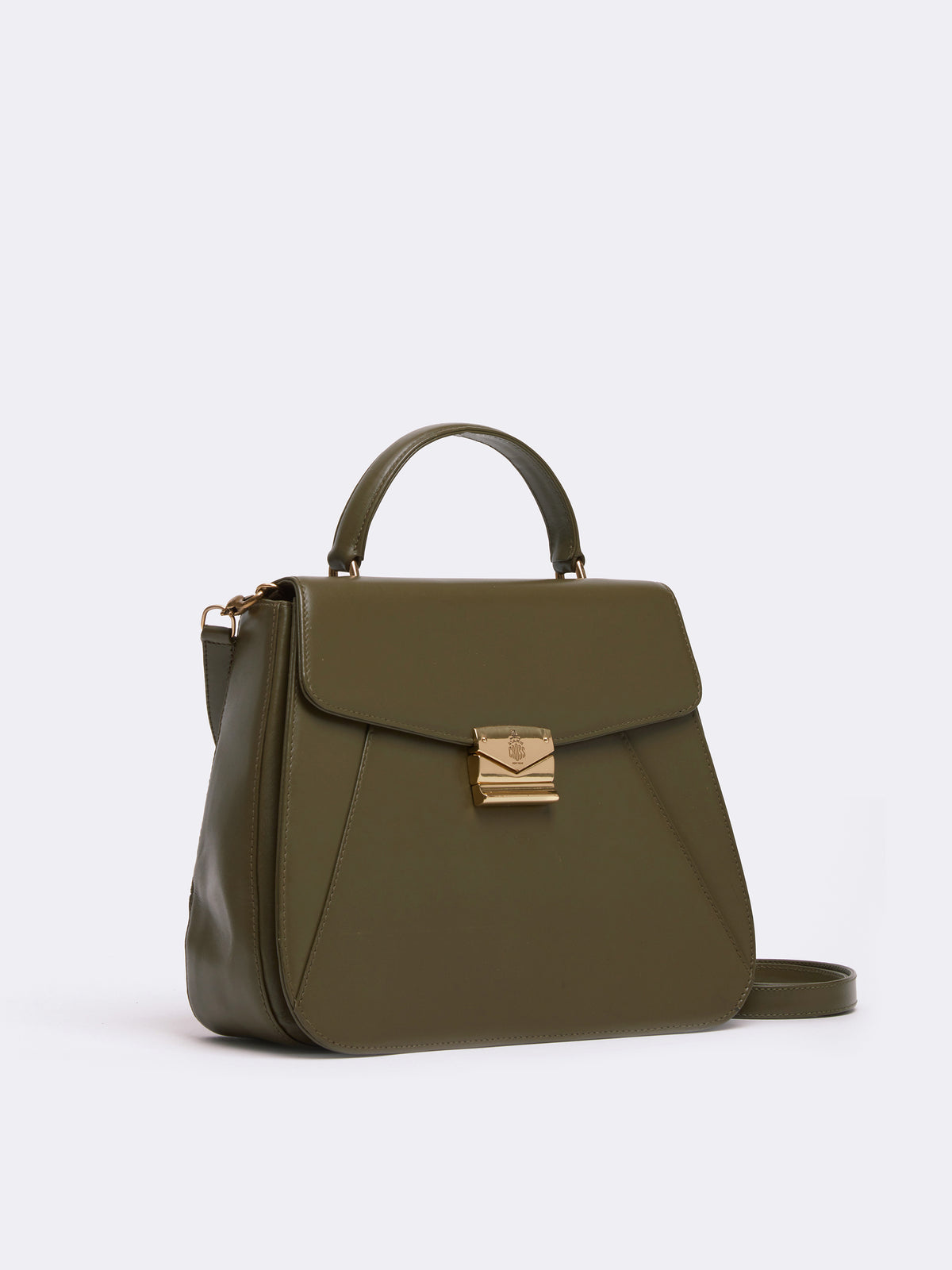 Mark Cross Archive Leather Top Handle Bag Leather Olive Side