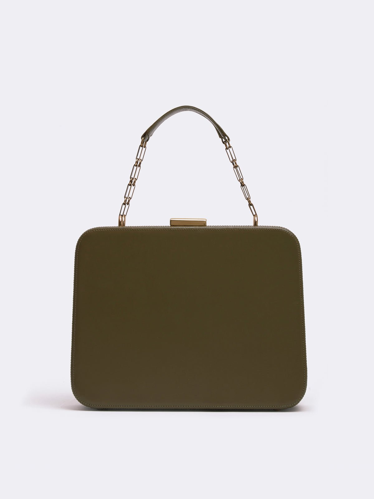 Mark Cross Archive Leather Top Handle Bag Leather Olive Front