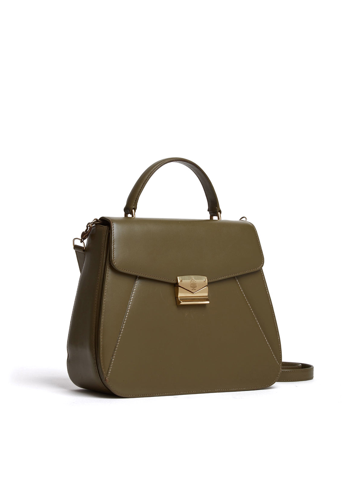 Vintage Leather Top Handle Crossbody Bag