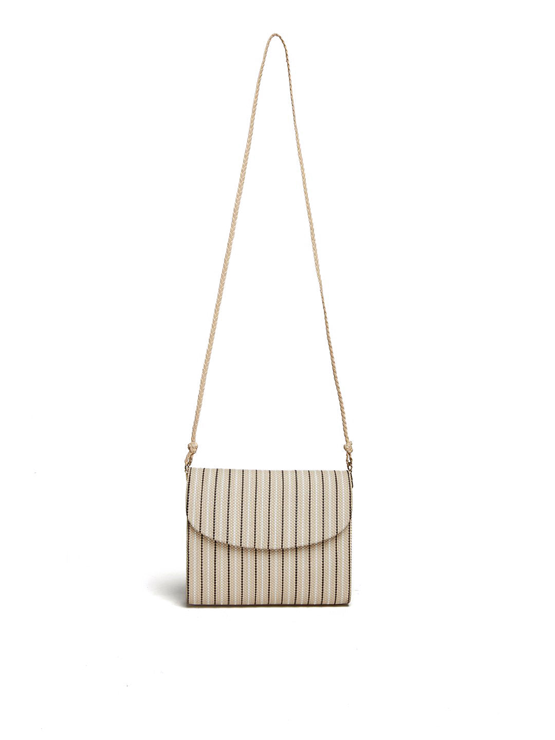 Vintage Striped Crossbody Bag With Braided Strap