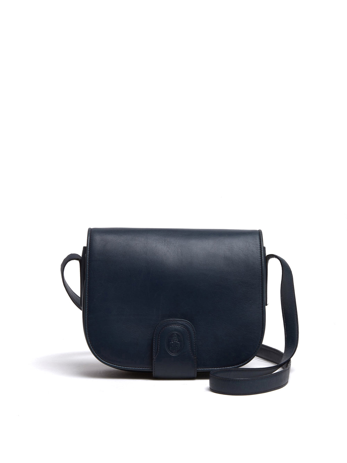 Mark Cross Vintage Leather Crossbody Bag Navy Front