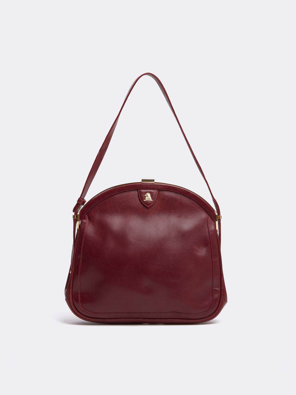 Mark Cross Archive Leather Frame Bag Burgundy Front