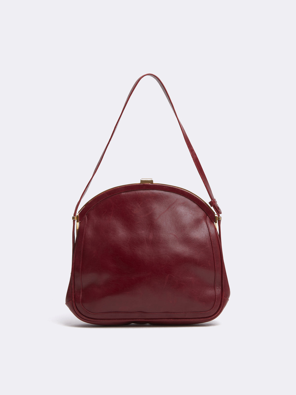 Mark Cross Archive Leather Frame Bag Burgundy Back