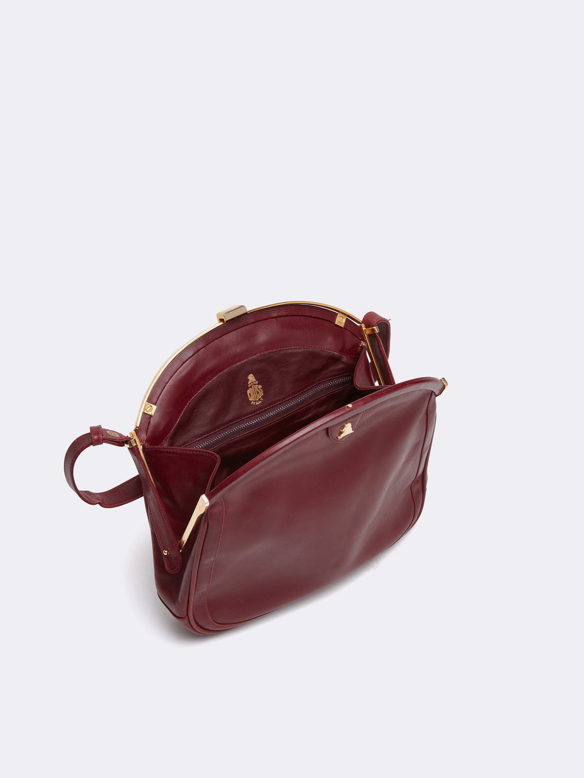 Mark Cross Archive Leather Frame Bag Burgundy Interior