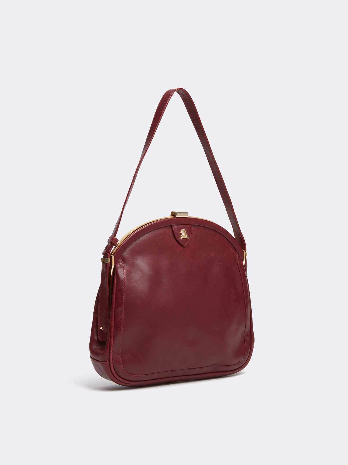 Mark Cross Archive Leather Frame Bag Burgundy Side