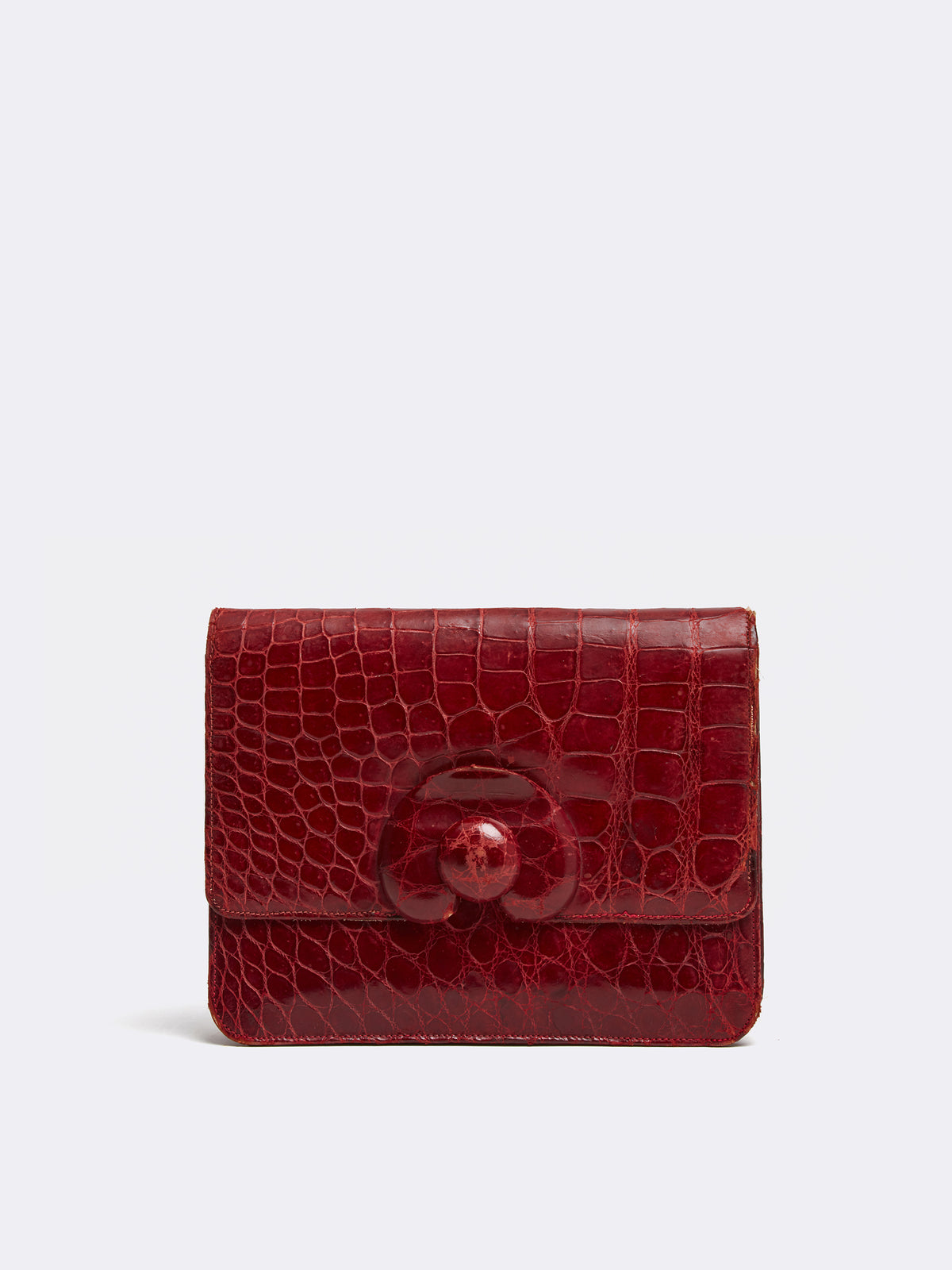 Mark Cross Archive Crocodile Clutch Burgundy Front