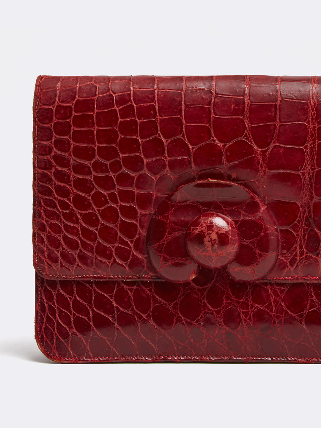 Mark Cross Archive Crocodile Clutch Burgundy Detail