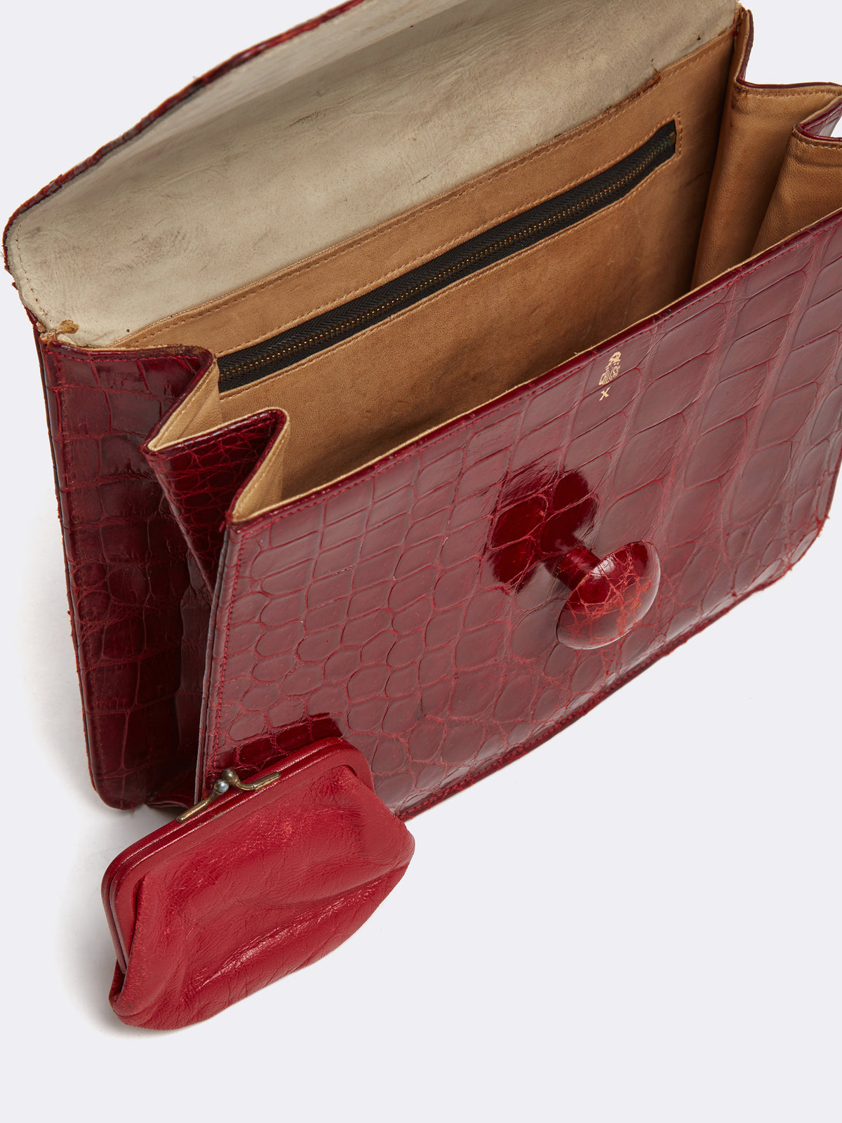 Mark Cross Archive Crocodile Clutch Burgundy Interior