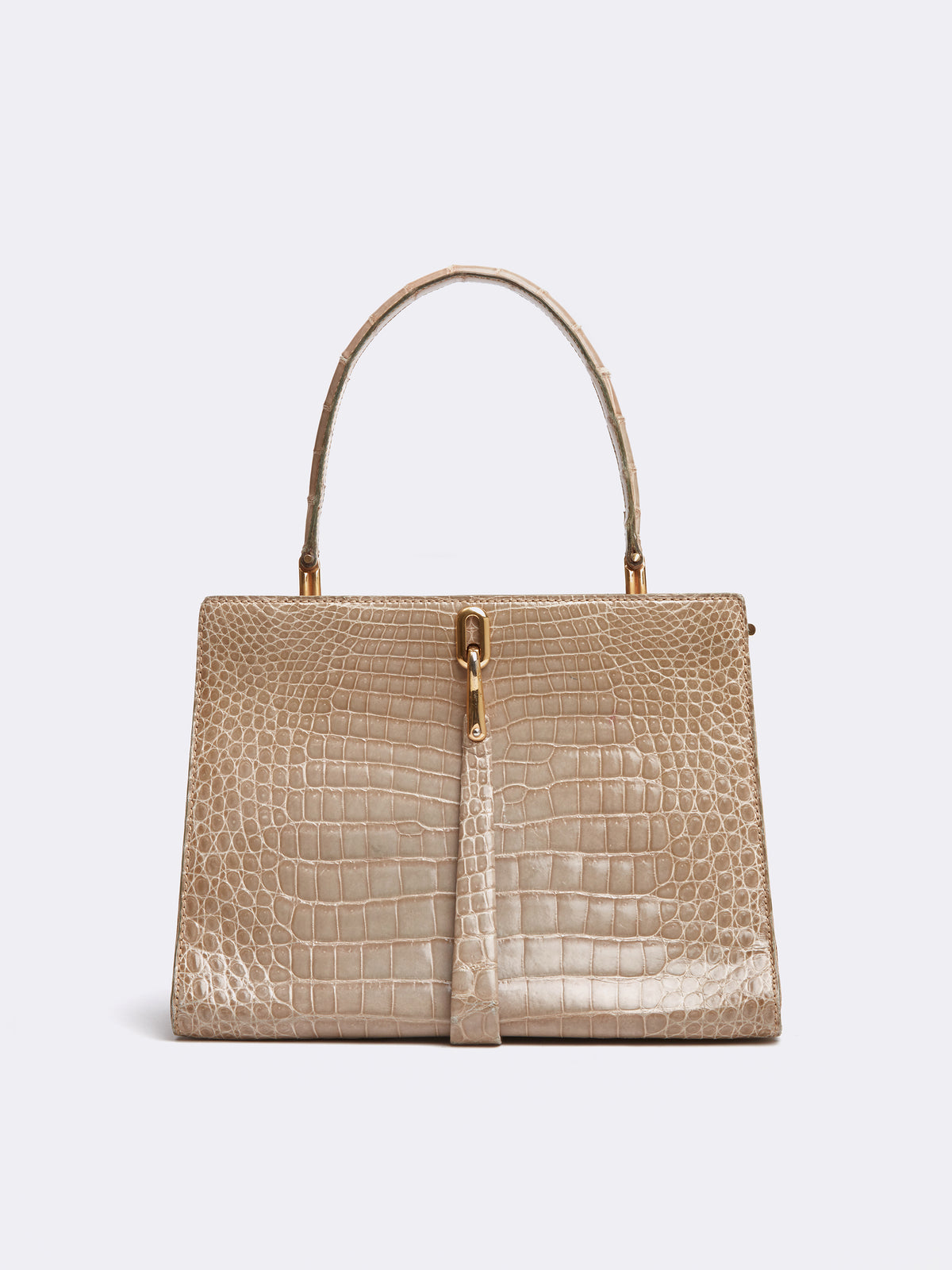 Mark Cross Archive Alligator Top Handle Bag Tan Front