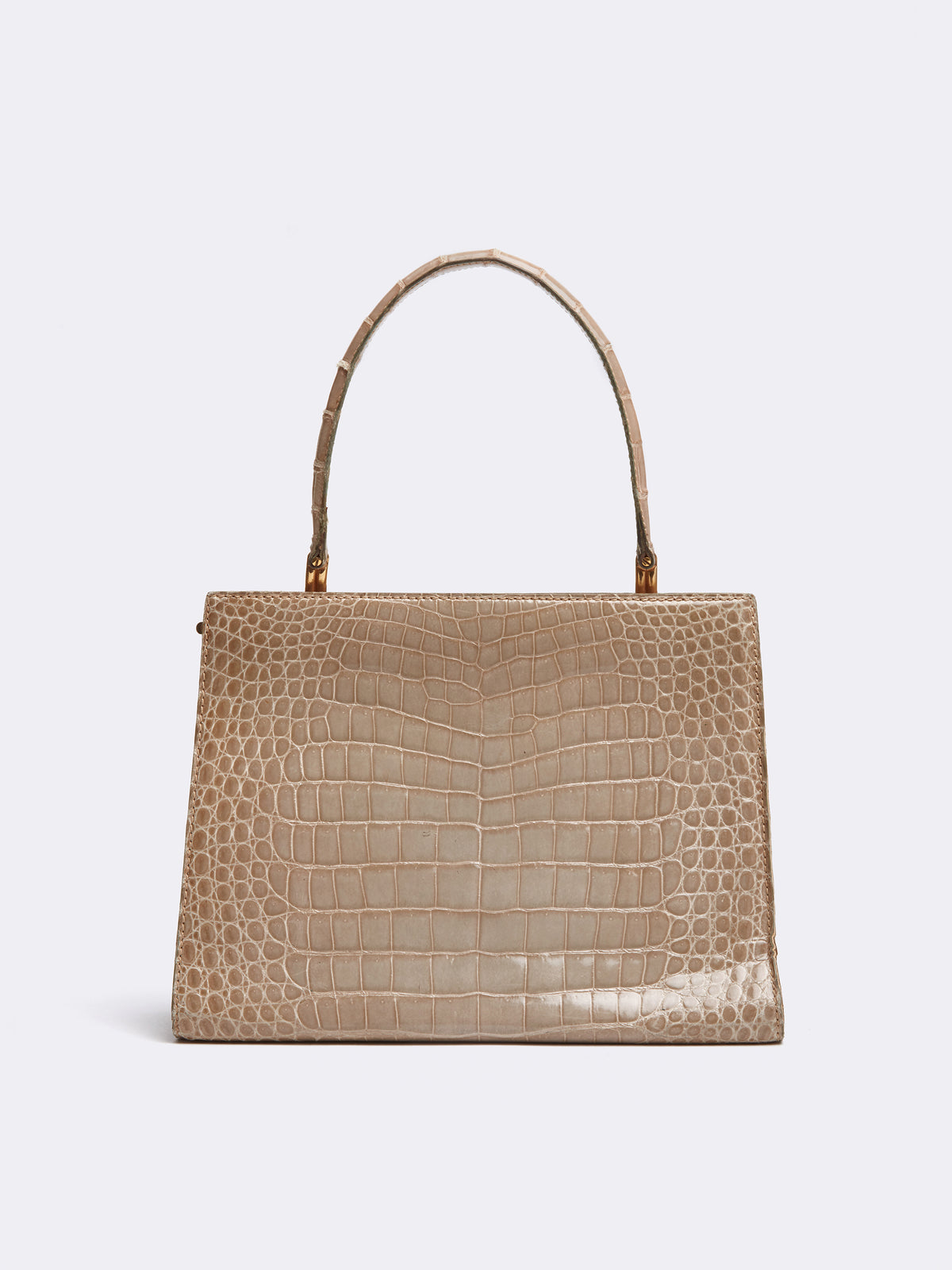 Mark Cross Archive Alligator Top Handle Bag Tan Back
