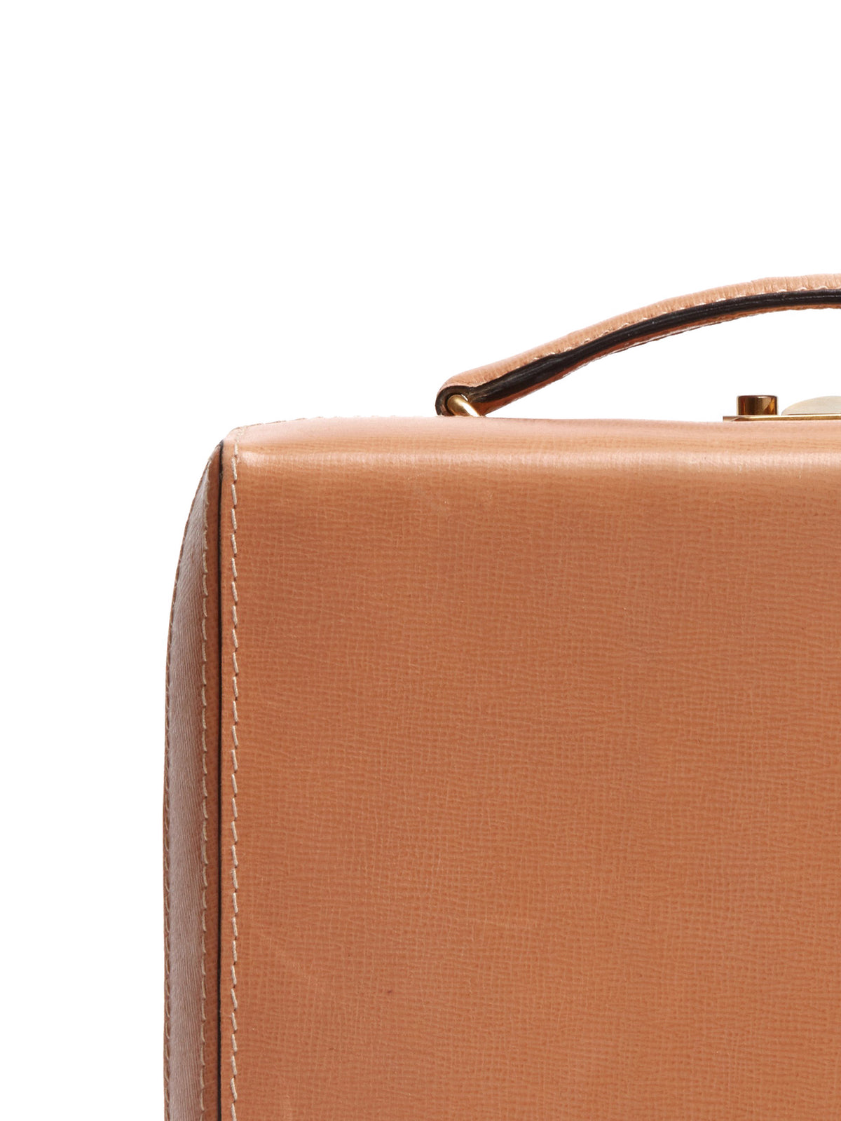Mark Cross Vintage Grace Leather Box Bag Tan Detail