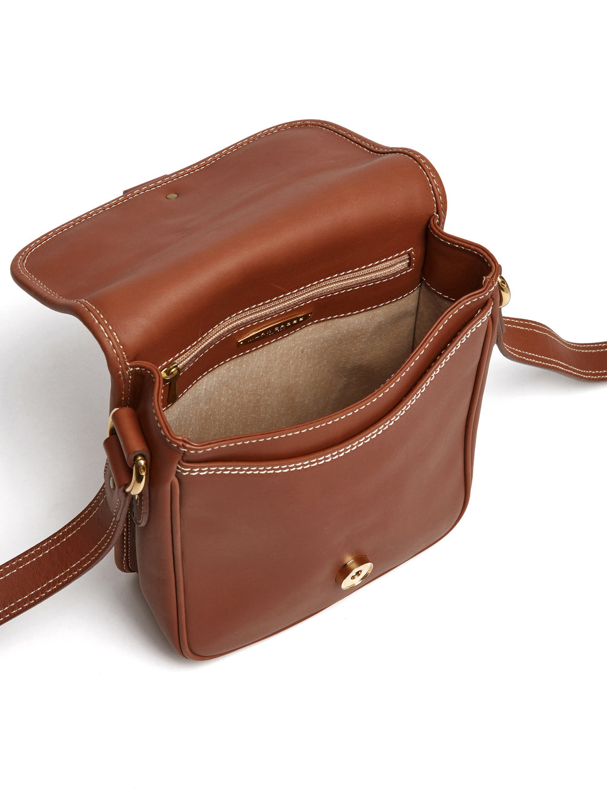 Vintage Leather Crossbody Bag With Contrast Stitching
