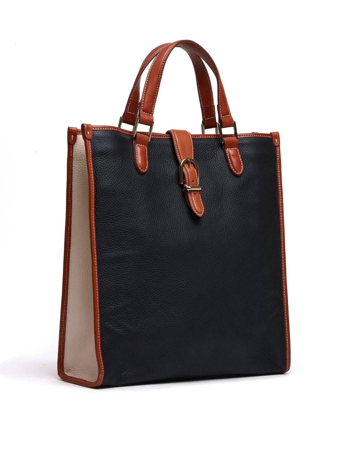 Mark Cross Vintage Leather Tote Bag Leather Cognac Side
