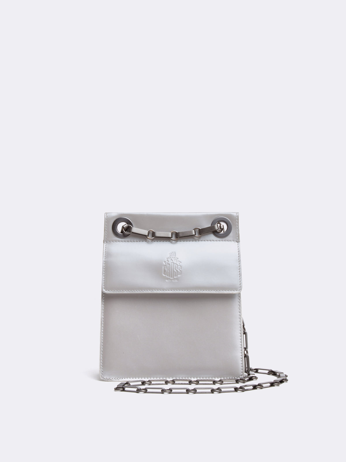 Mark Cross Vintage Leather Mini Chain Strap Bag Pearl Front