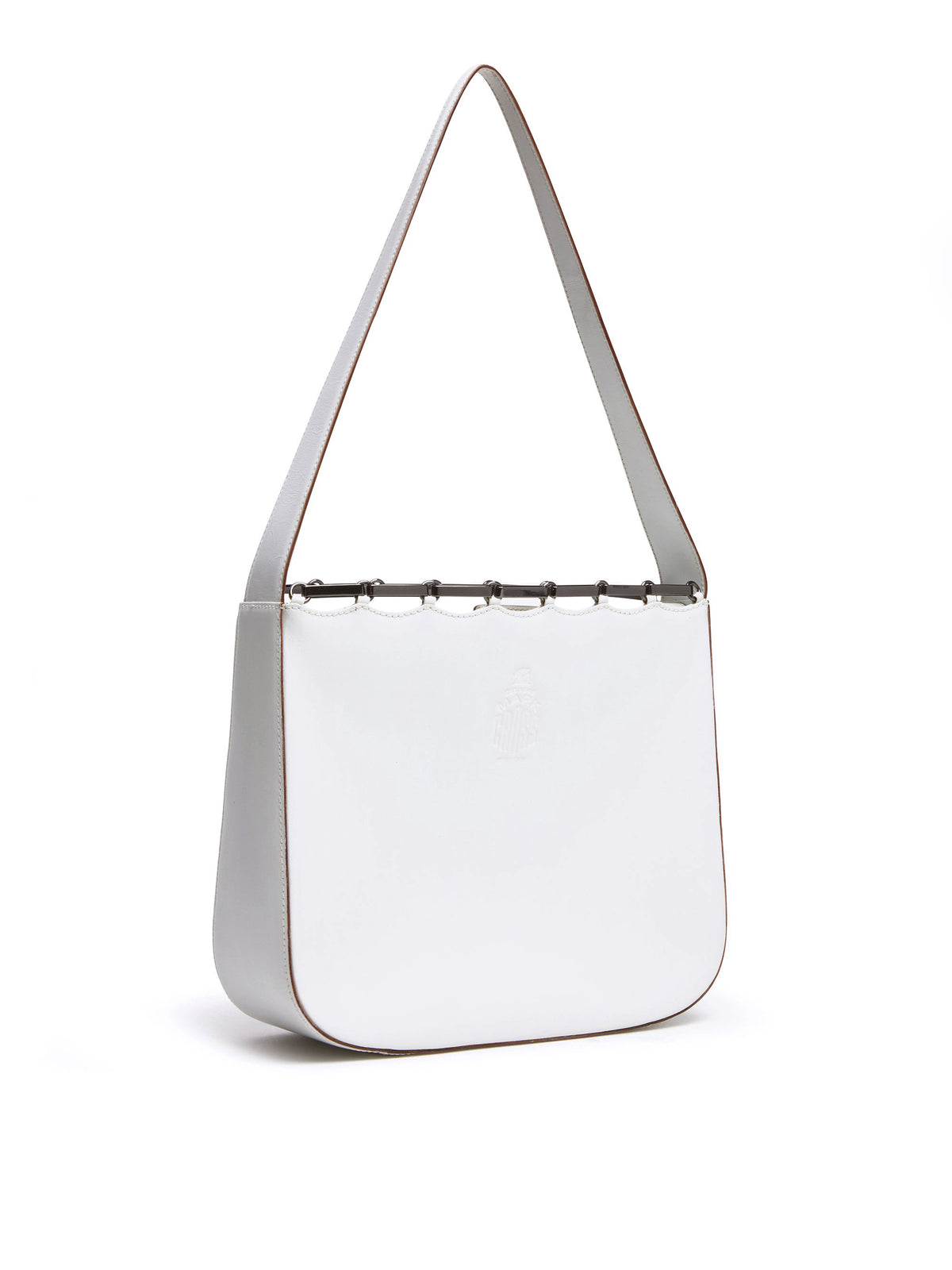 Mark Cross Vintage Leather Shoulder Bag White Side