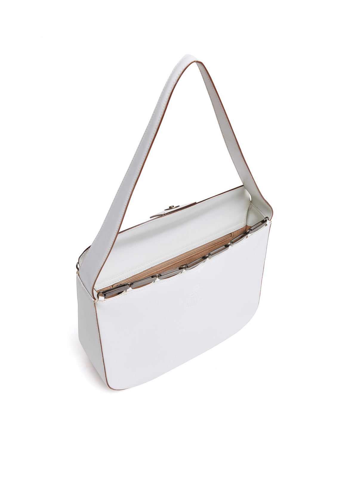 Mark Cross Vintage Leather Shoulder Bag White Interior