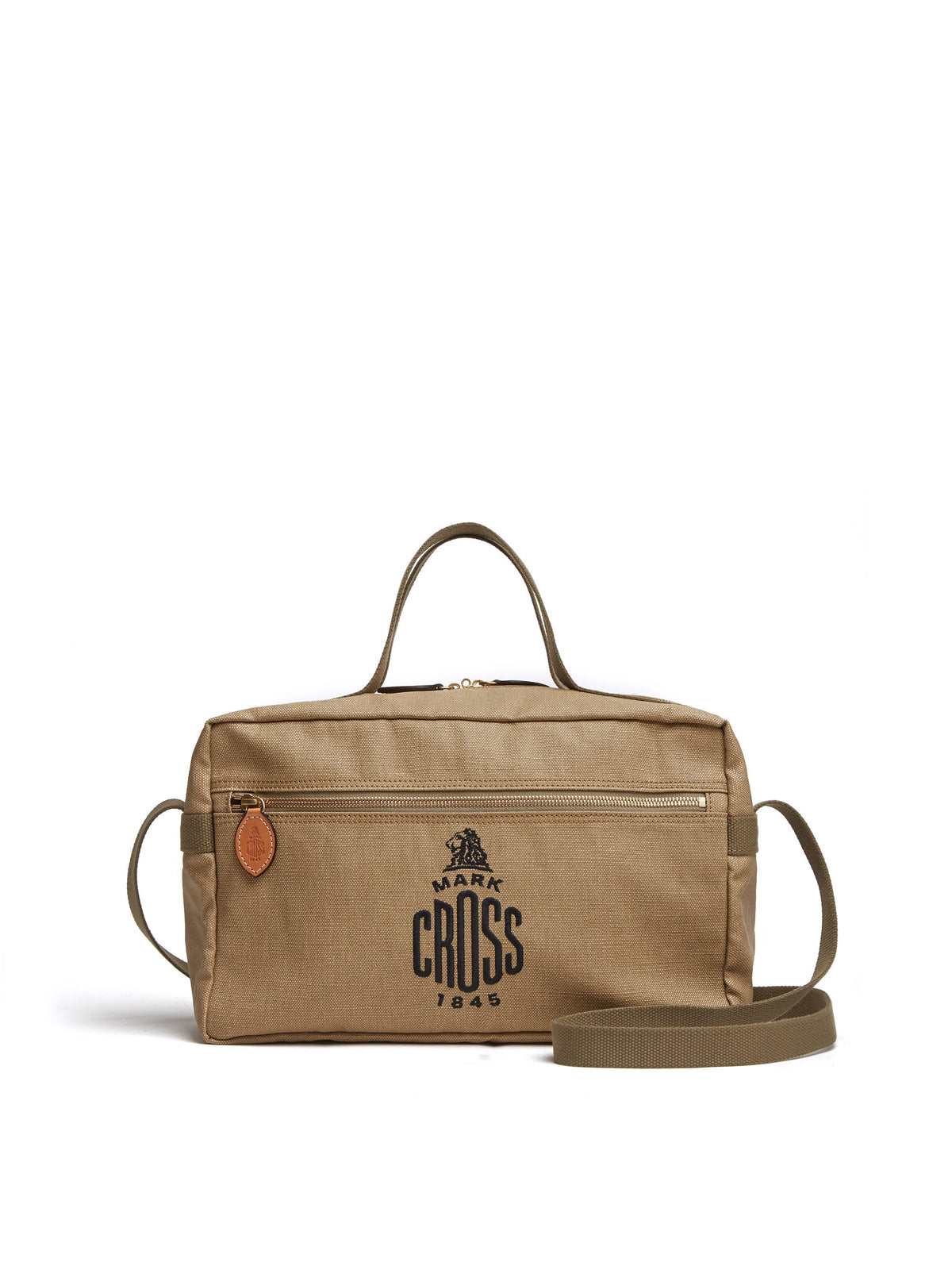 Mark Cross Weatherbird Canvas Messenger Bag Canvas Beige Front