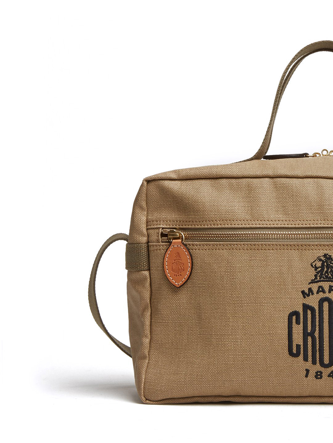 Mark Cross Weatherbird Canvas Messenger Bag Canvas Beige Detail