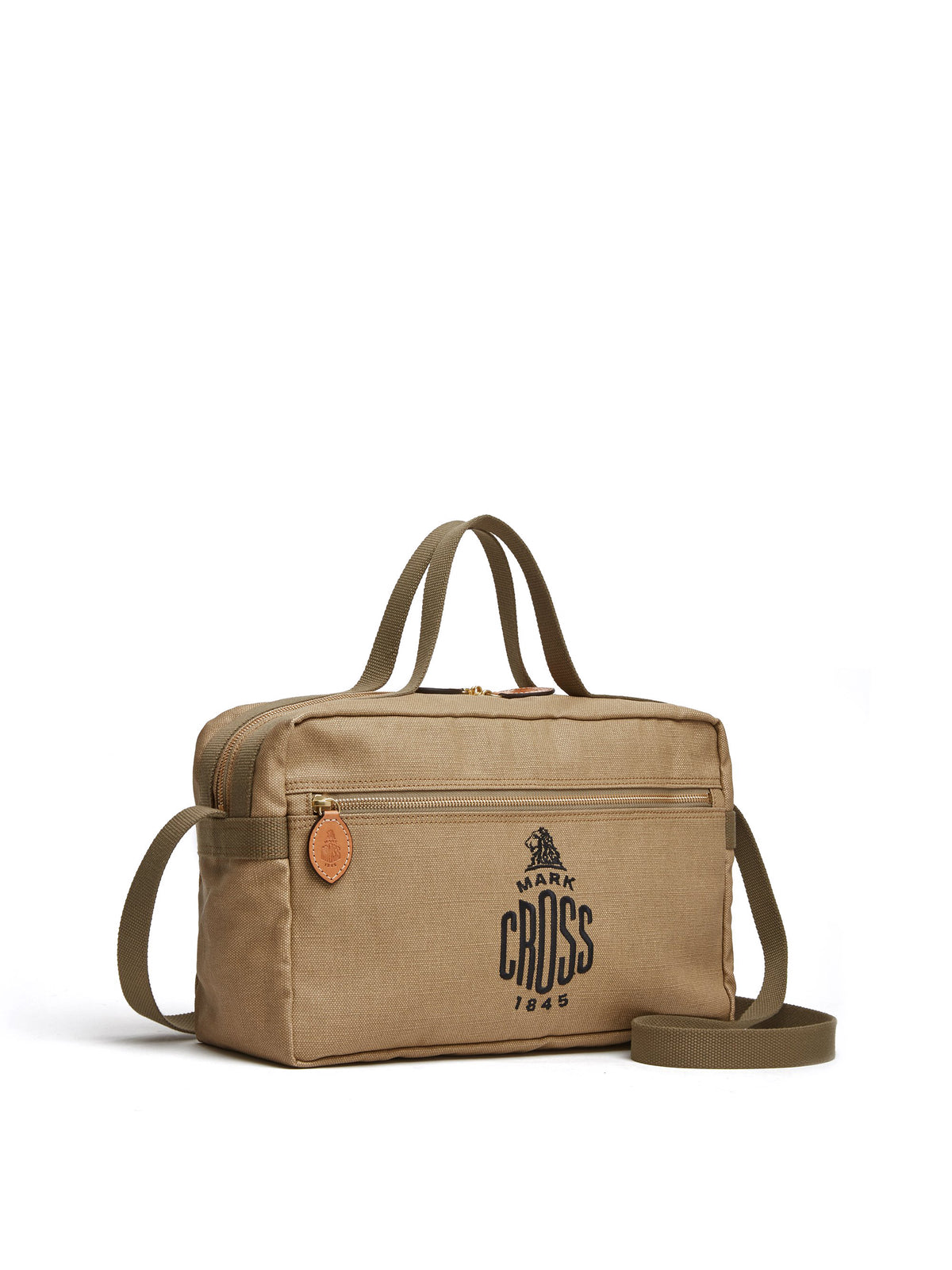 Mark Cross Weatherbird Canvas Messenger Bag Canvas Beige Side