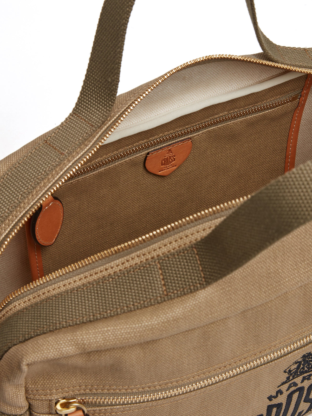 Mark Cross Weatherbird Canvas Messenger Bag Canvas Beige Interior