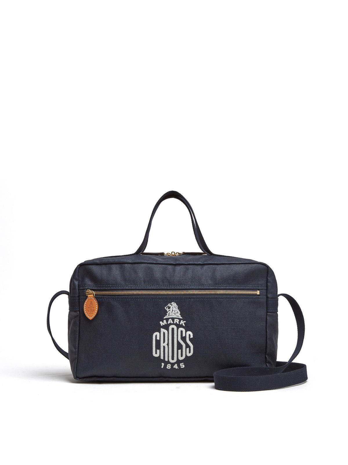 Mark Cross Weatherbird Canvas Messenger Bag Canvas Navy Front