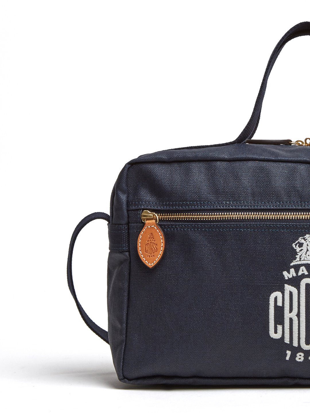 Mark Cross Weatherbird Canvas Messenger Bag Canvas Navy Detail