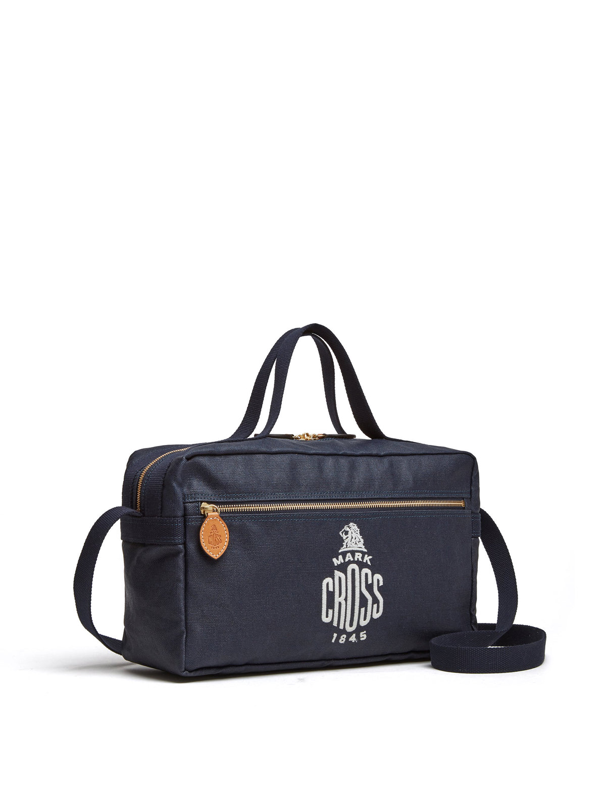 Mark Cross Weatherbird Canvas Messenger Bag Canvas Navy Side