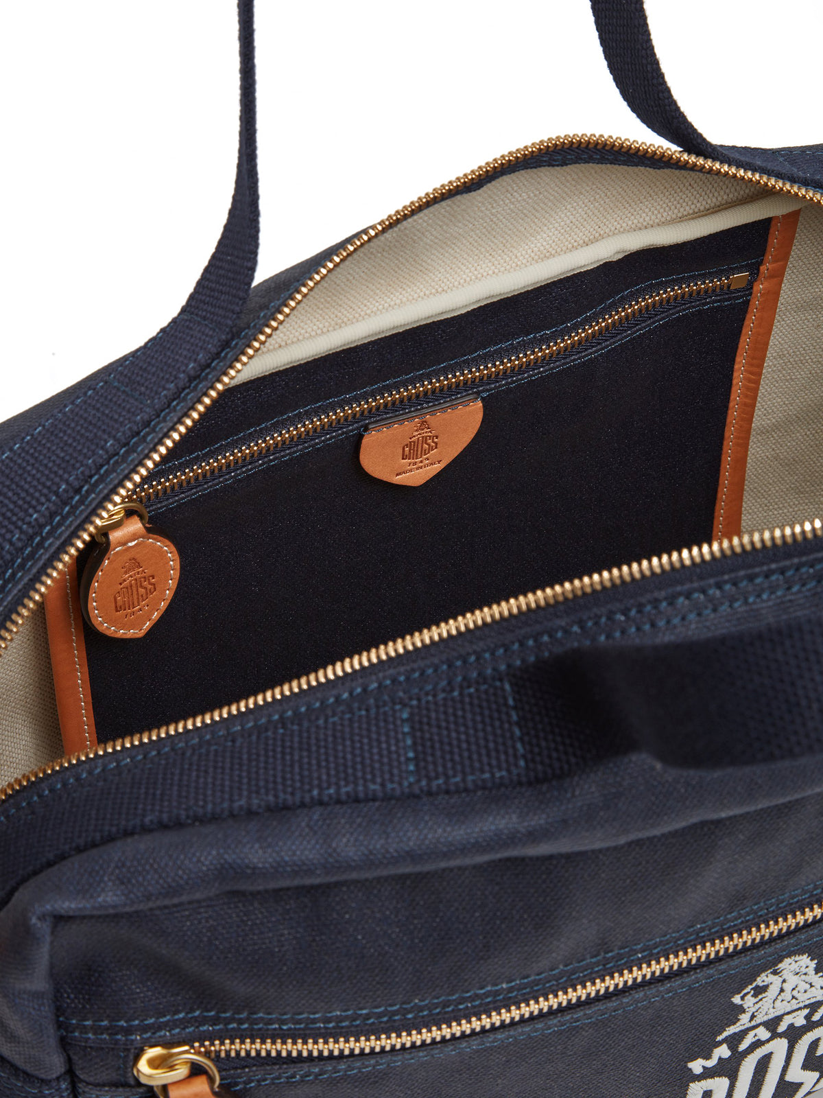 Mark Cross Weatherbird Canvas Messenger Bag Canvas Navy Interior
