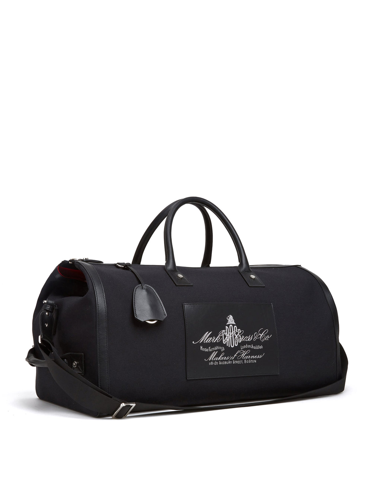 Mark Cross Equestrian Historical Logo Duffle Bag Soft Calf Black / Canvas Side