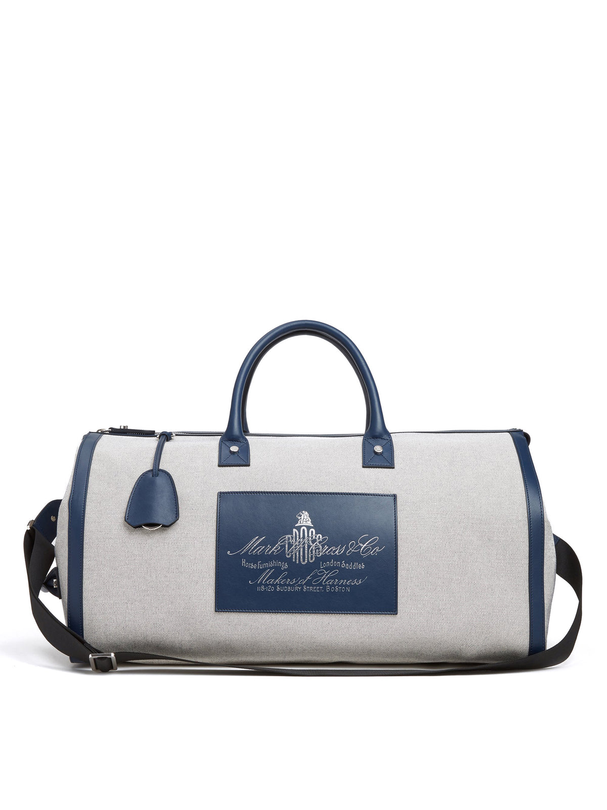 Mark Cross Equestrian Historical Logo Duffle Bag Soft Calf Navy / Birdseye Front
