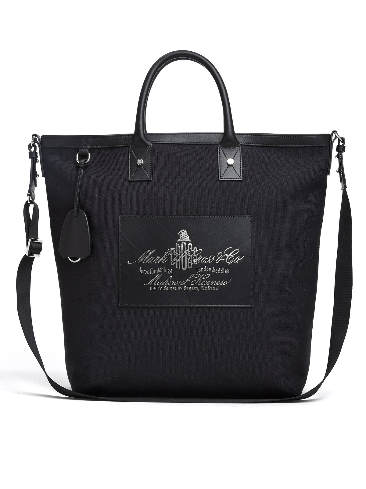 Mark Cross Equestrian Historical Logo Tote Bag Soft Calf Black / Canvas Front