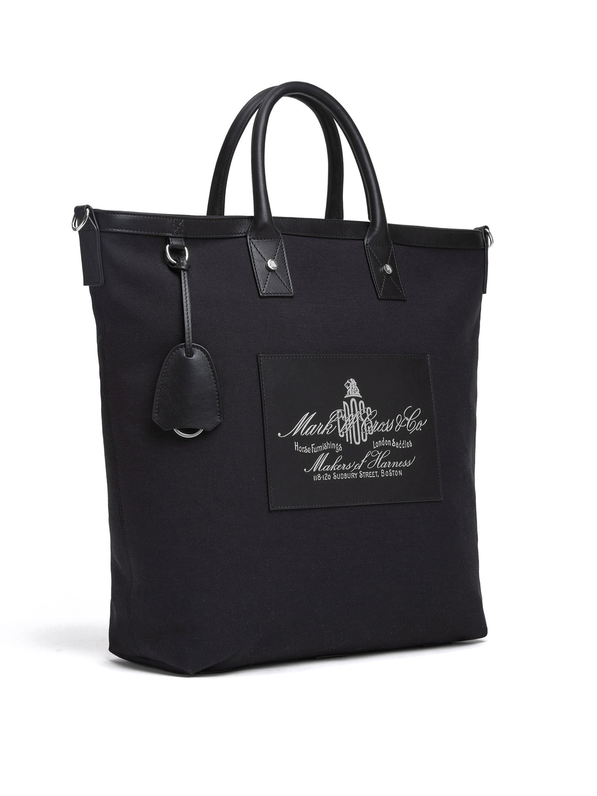 Mark Cross Equestrian Historical Logo Tote Bag Soft Calf Black / Canvas Side