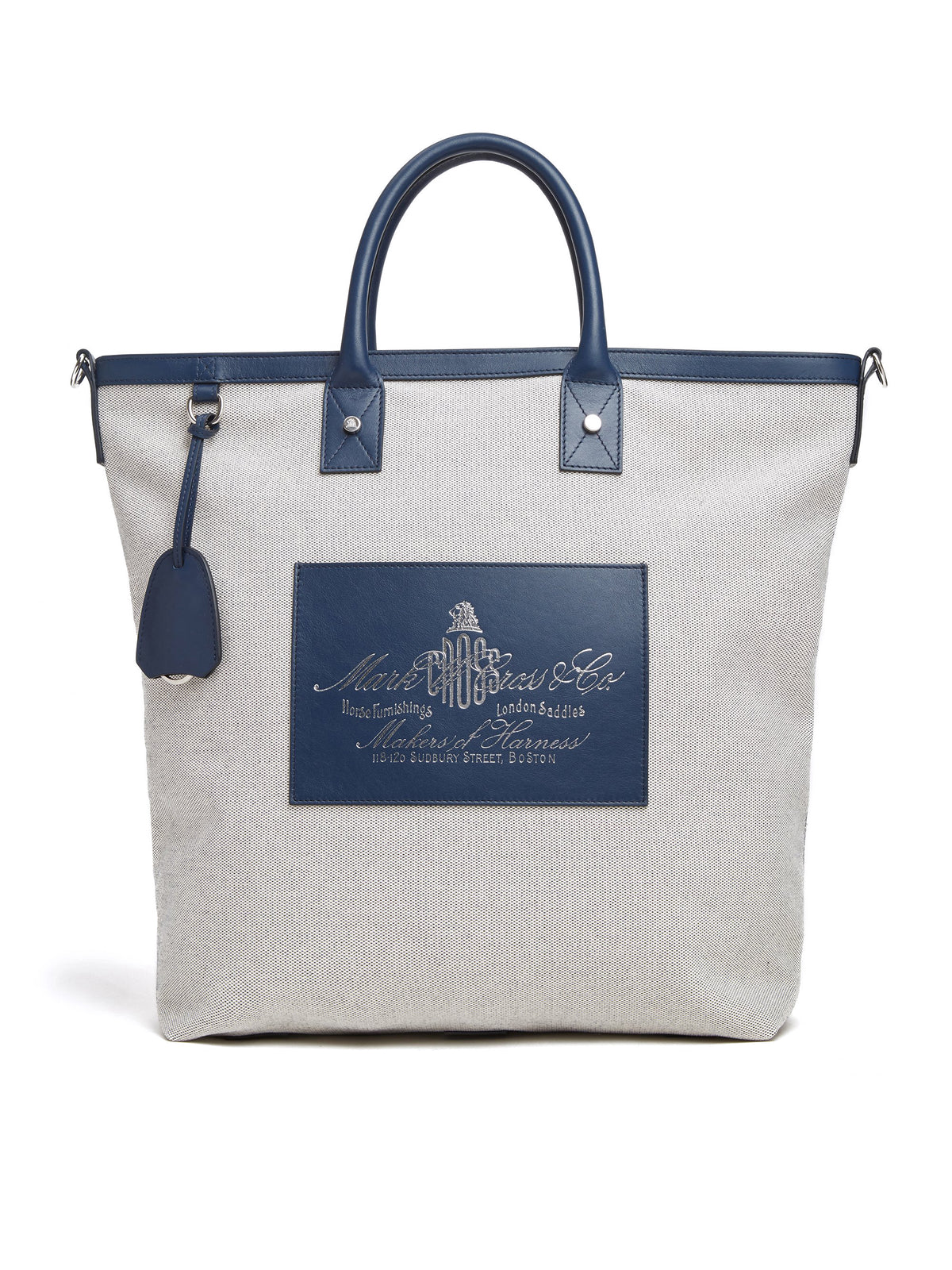 Mark Cross Equestrian Historical Logo Tote Bag Soft Calf Navy / Birdseye Front