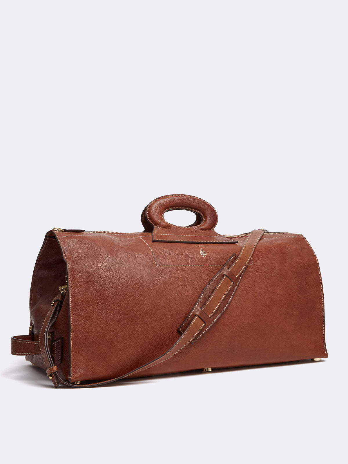 Mark Cross Vintage Leather Duffle Bag Calf Luggage Side