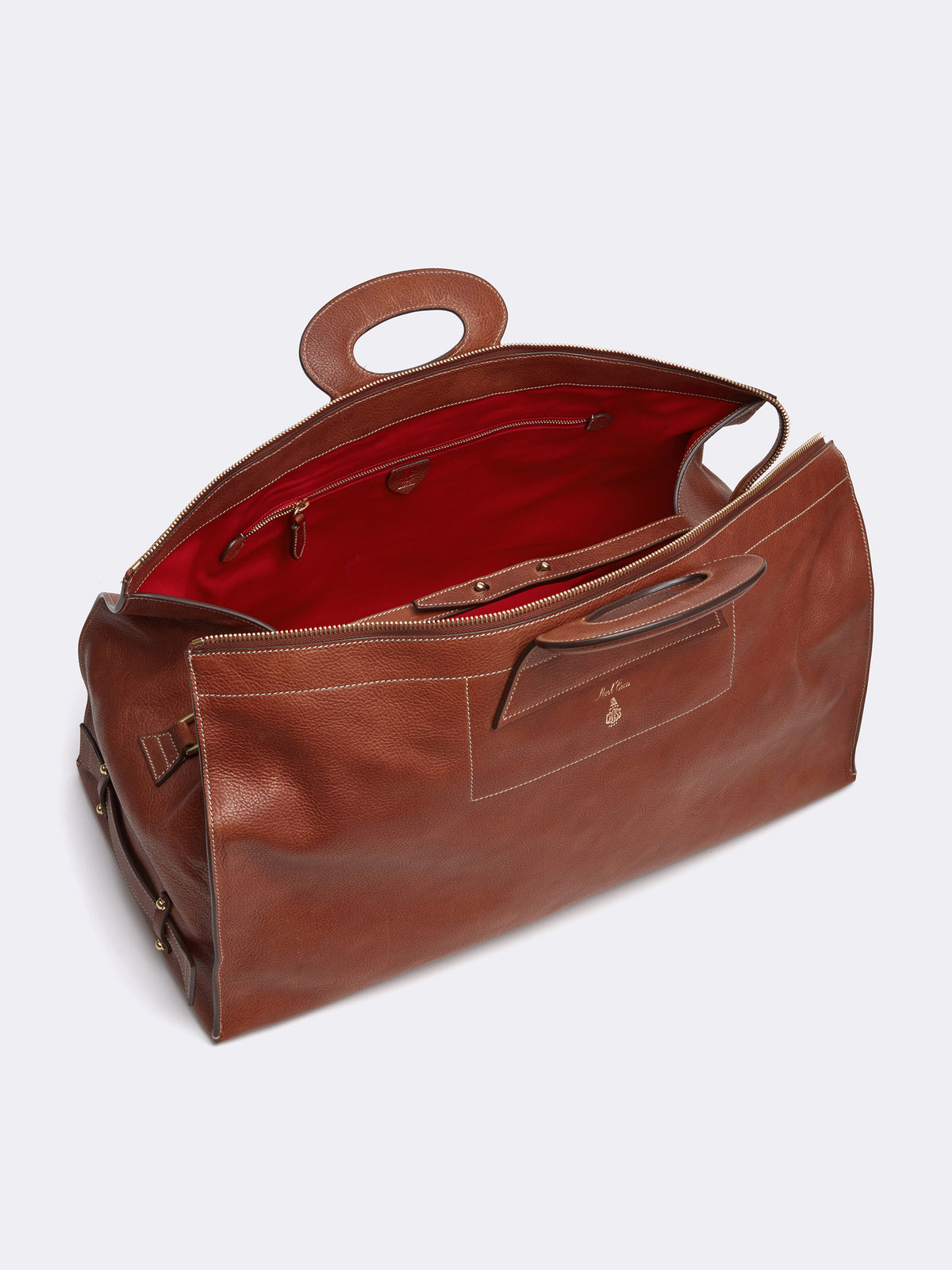Mark Cross Vintage Leather Duffle Bag Calf Luggage Interior
