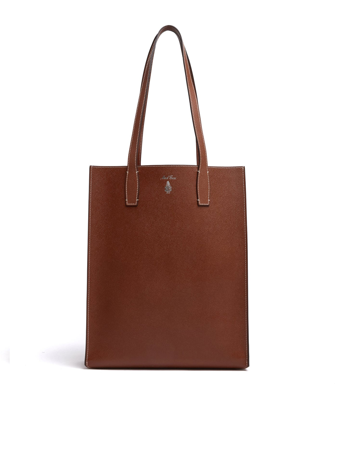 Mark Cross Fitzgerald North South Leather Tote Saffiano Acorn Front