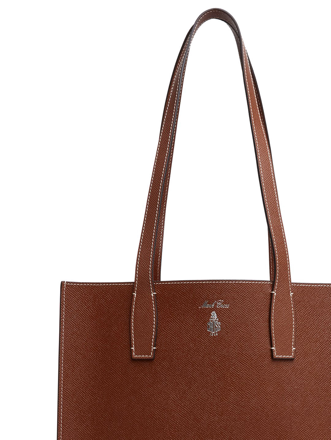 Mark Cross Fitzgerald North South Leather Tote Saffiano Acorn Detail