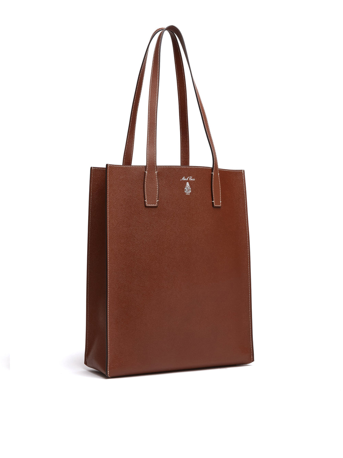 Mark Cross Fitzgerald North South Leather Tote Saffiano Acorn Side